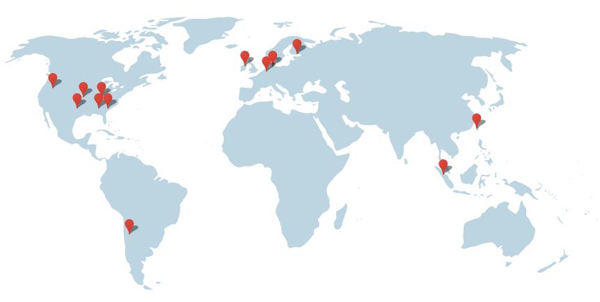 Alle locaties van datacenteres