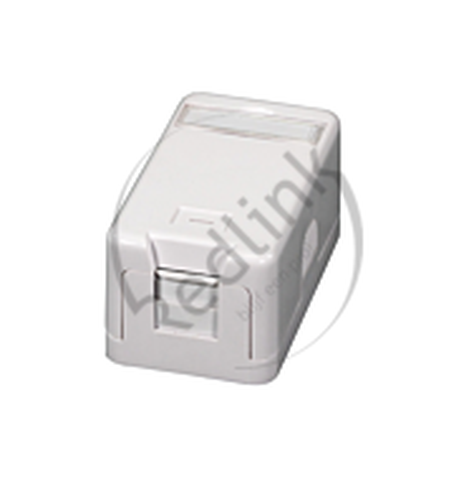 Redlink, Opbouwdoos 1v met stofklep, Ral9010, wit, leeg tbv keystones