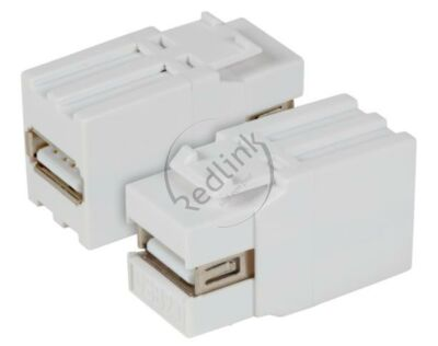 Redlink, USB2.0, Snap-In adapter, wit, type A/type A, install.diepte 32mm
