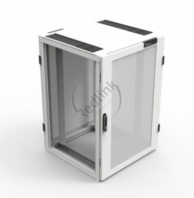 Minkels, Serverkast 24HE, B800xD800xH1300, 80% Perf, enkele voor- en achterdeur, RAL9003