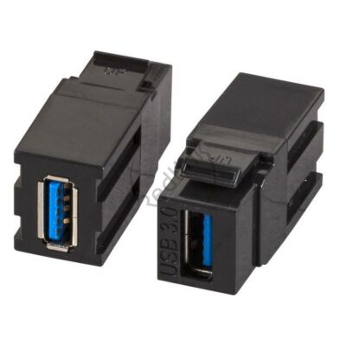 USB3.0 Snap-In adapter, zwart, type A/type A, install.diepte 32mm